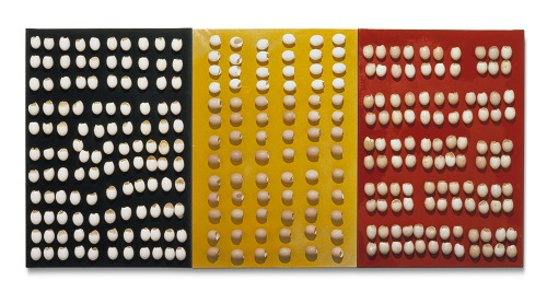 Marcel Broodthaers, Untitled (Triptych). 1965–66. Yellow and black panels: M.-C. & Ch. Firmenich-Guillissen / Pierre Huber, Art & Public, Geneva; red panel: Collection Sylvio Perlstein, Antwerp Image courtesy Maria Gilissen Archives of Marcel Broodthaers. © The Estate of Marcel Broodthaers c/o SABAM Belgium – VEGAP 2016