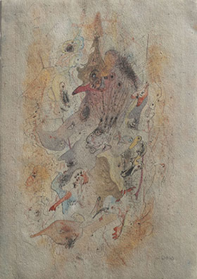 Wols. Composition, 1941-1942. Pen, colored ink on paper. 20 x 12,8 cm. The Menil Collection, Houston. Photography: Paul Hestern