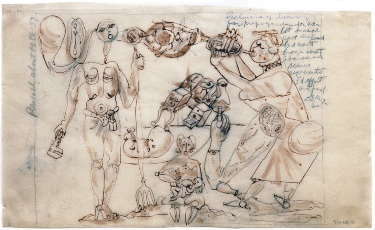David Smith, Study for Preliminary Version of 'Propaganda for War' (Medals for Dishonor), 1938-39. Red ink and pencil on tracing paper, 8 ¼ x 13 ¾ in. (21 x 34.9 cm). (c) Estate of David Smith/VAGA, NY.