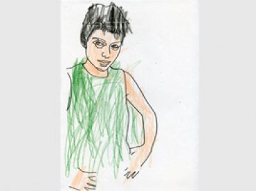 Intervención infantil sobre un dibujo de Azucena Vieites