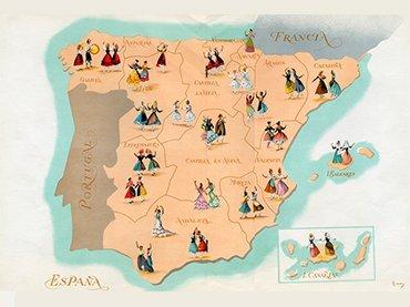 """Ilustración del programa Canciones y Danzas de España. Sección Femenina de Falange Española Tradicionalista y de las JONS, Madrid, 1953. © Ricardo Summers Isern,""""Serny"""""""