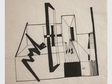 Mathias Goeritz. Dibujo ideográfico del Museo Experimental El Eco, 1952. Colección Luis Enrique Noriega