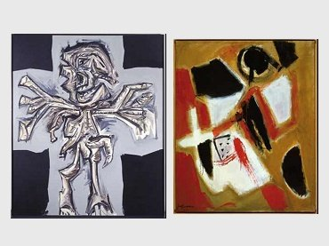 Antonio Saura. Cruciflixión, 1979 / José Guerrero. Tierra roja, 1955
