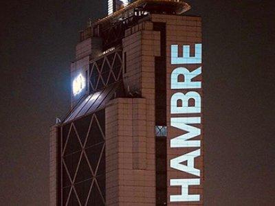 Delight Lab. Intervención artística sobre el edificio más alto de Santiago de Chile durante la pandemia, 2020