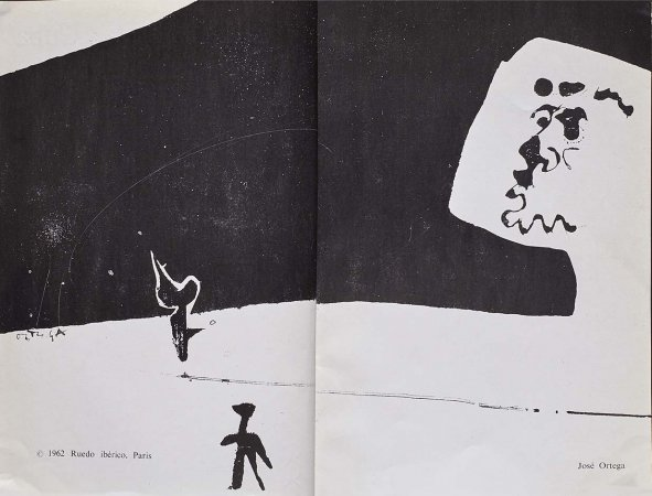 VV. AA., España canta a Cuba, París: Ruedo Ibérico, 1962. Ilustración, José Ortega, s/p. Fondos del Centro de Documentación del Museo Nacional Centro de Arte Reina Sofía (RESERVA 4750)