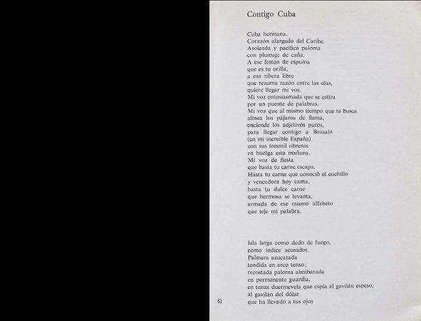 VV. AA., España canta a Cuba, París: Editorial Ruedo Ibérico, 1962, p. 61. Fondos del Centro de Documentación del Museo Nacional Centro de Arte Reina Sofía (RESERVA 4750)