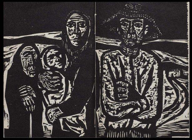 VV. AA., Versos para Antonio Machado, París: Ruedo Ibérico, 1962. Ilustración, Ricardo Zamorano, s/p. Fondos del Centro de Documentación del Museo Nacional Centro de Arte Reina Sofía (RESERVA 4751)