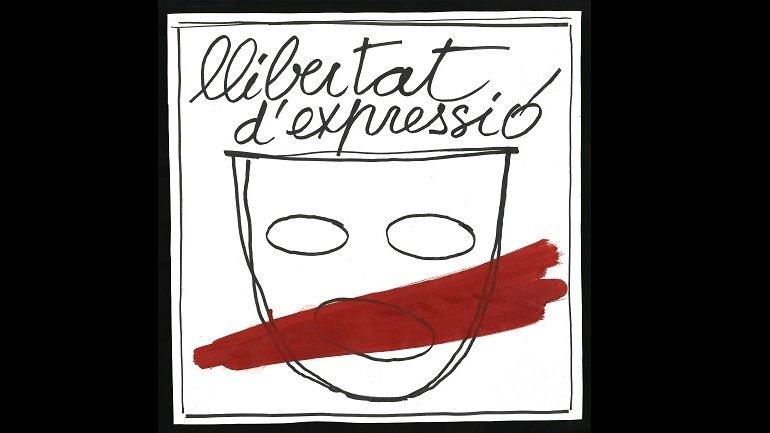 """Fabià Puigserver, dibujo para la campaña """"Llibertat d'expressió"""", 1977. Centre de Documentació i Museu de les Arts Escèniques (MAE) del Institut del Teatre"""