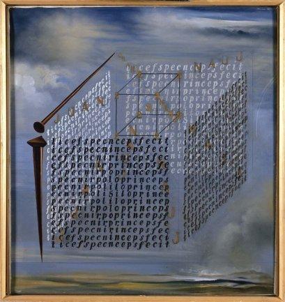 Salvador Dalí. A propósito del 'Discurso sobre la forma cúbica' de Juan de Herrera, 1960. Óleo sobre lienzo. Museo Nacional Centro de Arte Reina Sofía