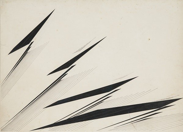 Mohamedi, Nasreen. Untitled, Ca. 1975. Ink and graphite on cardboard, 50,8 x 71,1 cm. Sikander and Hydari Collection