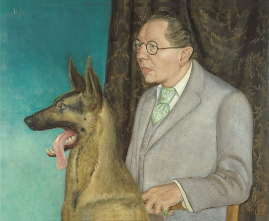 Otto Dix. Hugo Erfurth con perro, 1926. Temple y óleo sobre tabla. Museo Thyssen-Bornemisza, Madrid