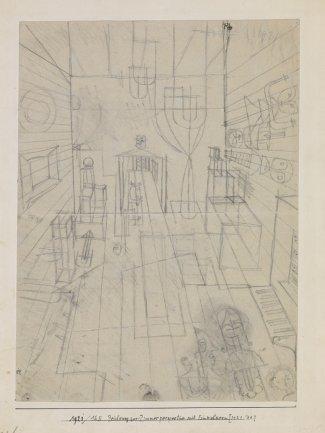 Paul Klee, Zeichnung zur Zimmerperspective mit Einwohnern (Drawing for Room perspective with inhabitants) [1921/24.], 1921. Pencil on paper on cardboard, 33,6/33,8 x 25/24,7 cm. Zentrum Paul Klee, Bern © Zentrum Paul Klee, VEGAP (España) 2013
