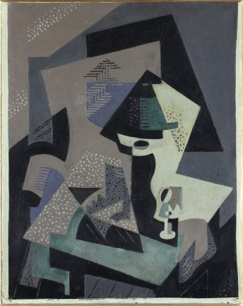 María Blanchard. Composición cubista - Naturaleza muerta verde con lámpara, 1916-1917. LL-A Collection, Madrid