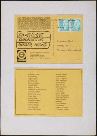 """Films/Arte Documentos Ondar abr. 76"". 1976. Archivo Francesc Abad. Centro de Documentación"
