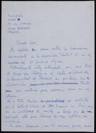 Carta a C.O.S.R.A.C. Madrid, 1973. Archivo Alexanco. Centro de Documentación