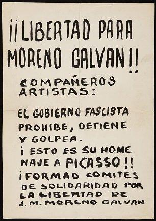 ¡¡Libertad para Moreno Galván!! Cartel (1971). Archivo José María Moreno Galván. Centro de Documentación