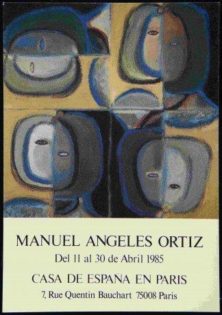 Manuel Ángeles Ortiz. 4 cabezas múltiples, reproducción en invitación para la exposición en la Casa de España en París (1985). Archivo Manuel Ángeles Ortiz. Centro de Documentación